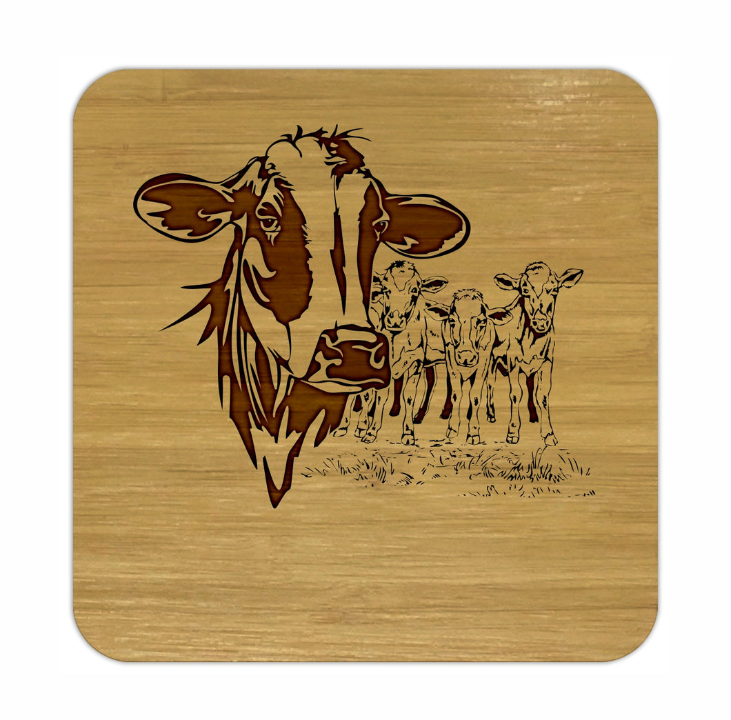 COWS Bamboo Coasters Eco Friendly Set Of 4 Drink Coasters in Box - fair-dinkum-gifts