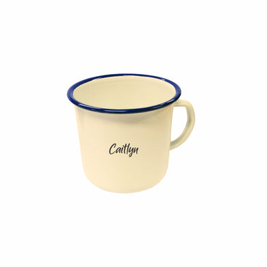 Set of 4 Camping Mugs 8cm Medium Personalised Colour Pannikin Travel Picnic Mug Enamel Rustic Cups - fair-dinkum-gifts
