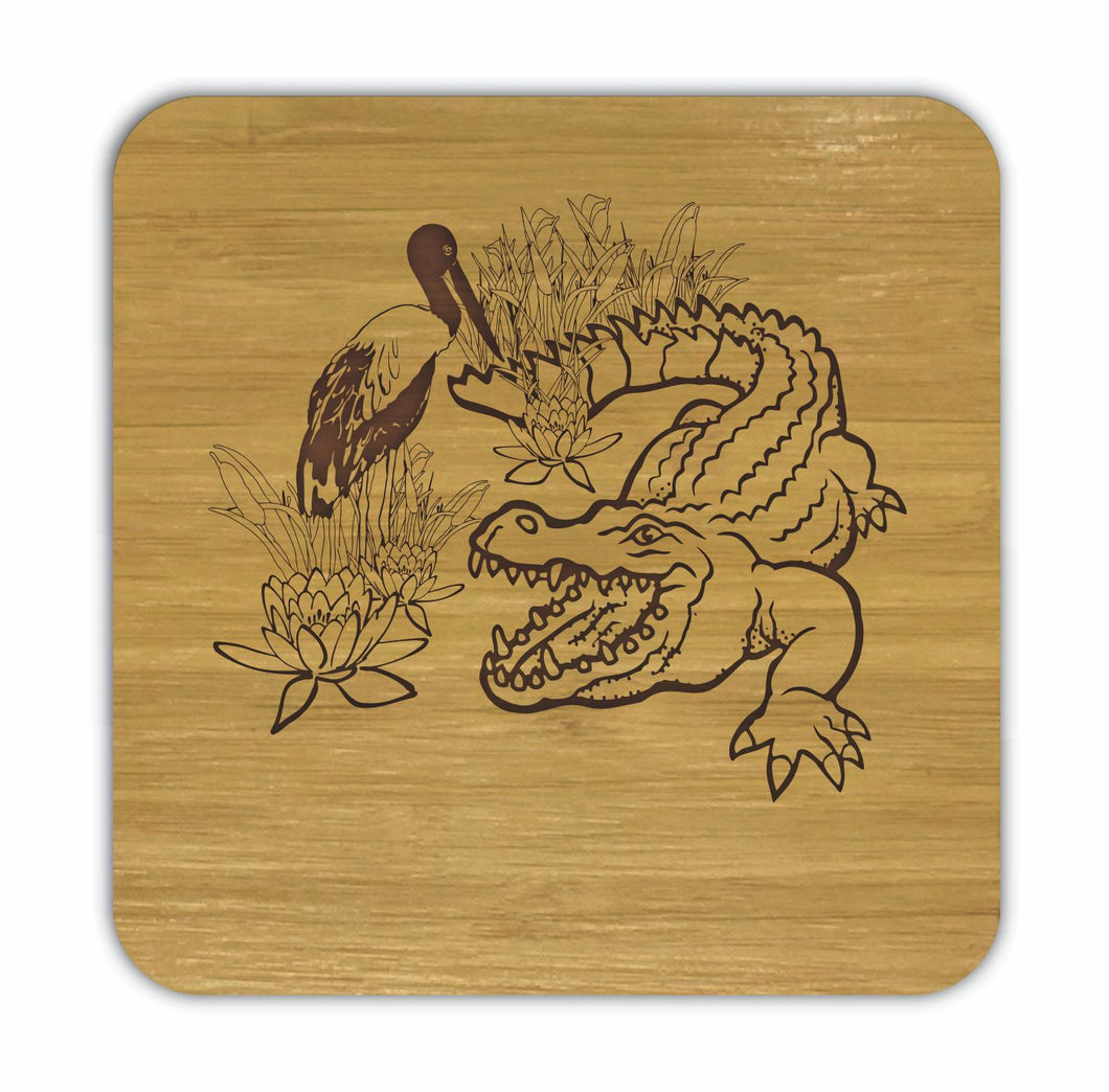 CROCODILE AND JABIRU Bamboo Coasters Eco Friendly Set Of 4 Drink Coasters in Box - fair-dinkum-gifts