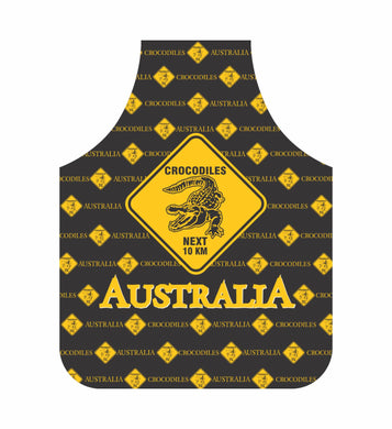 *CLEARANCE* Crocodile Apron Australia Black And Yellow Road Sign Design