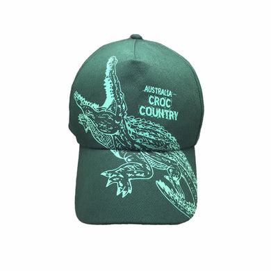 Glow Croc Country Australia Glow in The Dark Cap Green Australian Design Crocodiles - fair-dinkum-gifts
