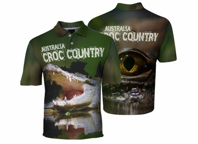 Croc Country Sublimated Polo Shirt Australia Crocodiles Aussie Great Outdoors Outback - fair-dinkum-gifts