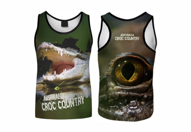 Croc Country Sublimated Singlet Australia Crocodiles Aussie Great Outdoors Outback - fair-dinkum-gifts