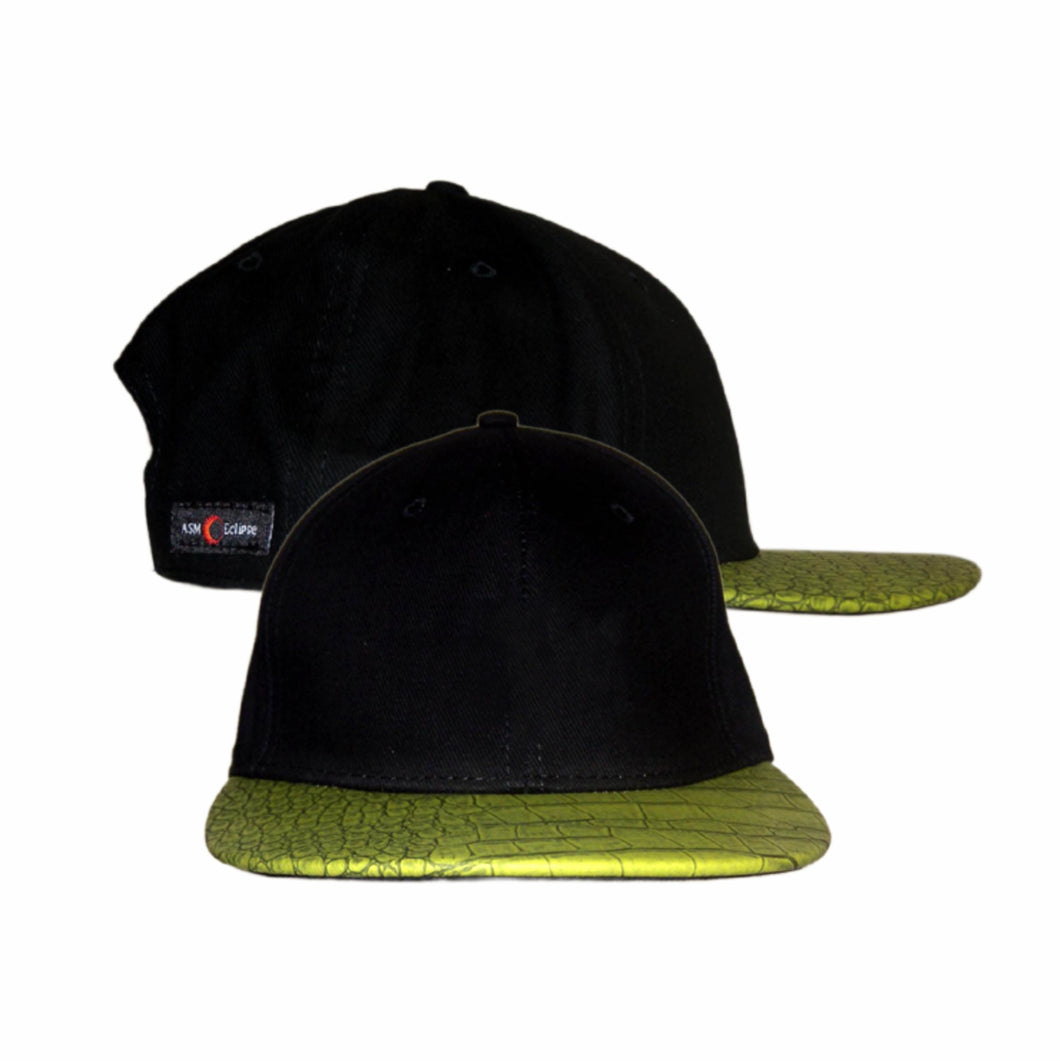 Croc Skin Flat Peak Cap Australian Design Mens Womens Unisex Black Green - fair-dinkum-gifts