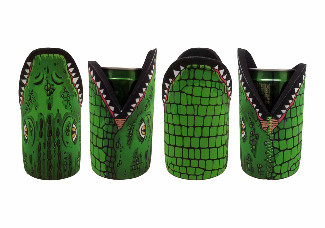 Croc Stubby Holder Pack of 4 Crocodile Drink Cooler Can Holder Neoprene Aussie Green - fair-dinkum-gifts