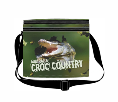 Croc Country Cooler Bag with Zip Pocket & Strap Crocodile Aussie Products Drink Holders - fair-dinkum-gifts