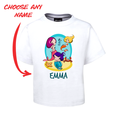 CUTE COMIC MERMAIDS KIDS T-SHIRT PERSONALISED WITH NAME TEE