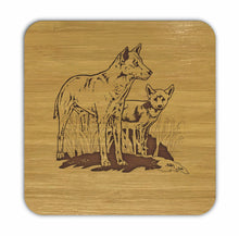 Load image into Gallery viewer, DINGO AND PUP Bamboo Coasters Eco Friendly Set Of 4 Drink Coasters in Box - fair-dinkum-gifts