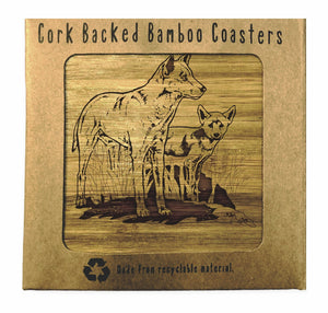 DINGO AND PUP Bamboo Coasters Eco Friendly Set Of 4 Drink Coasters in Box - fair-dinkum-gifts