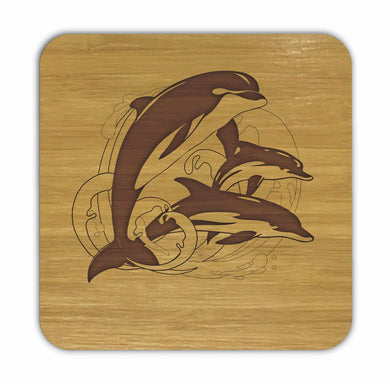 DOLPHINS Bamboo Coasters Eco Friendly Set Of 4 Drink Coasters in Box - fair-dinkum-gifts