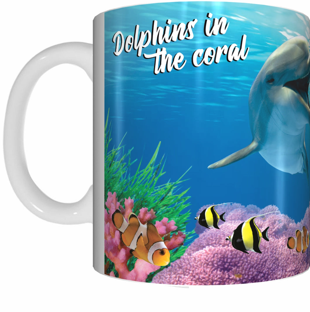 DOLPHIN CALF AND CORAL Mug Cup 300ml Gift Aussie Australia Fish Great Barrier Reef Dolphins - fair-dinkum-gifts