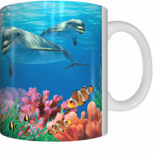 Load image into Gallery viewer, DOLPHIN CALF AND CORAL Mug Cup 300ml Gift Aussie Australia Fish Great Barrier Reef Dolphins - fair-dinkum-gifts