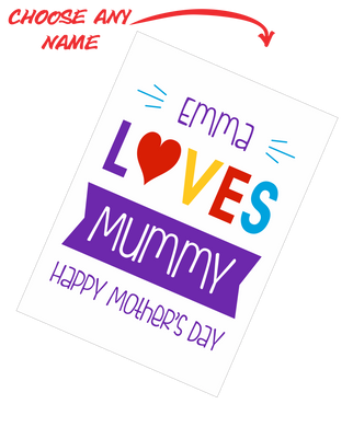 Personalised Mother's Day Teatowel - Insert Name Loves Mummy Happy Mother's Day FDG03-03-20001
