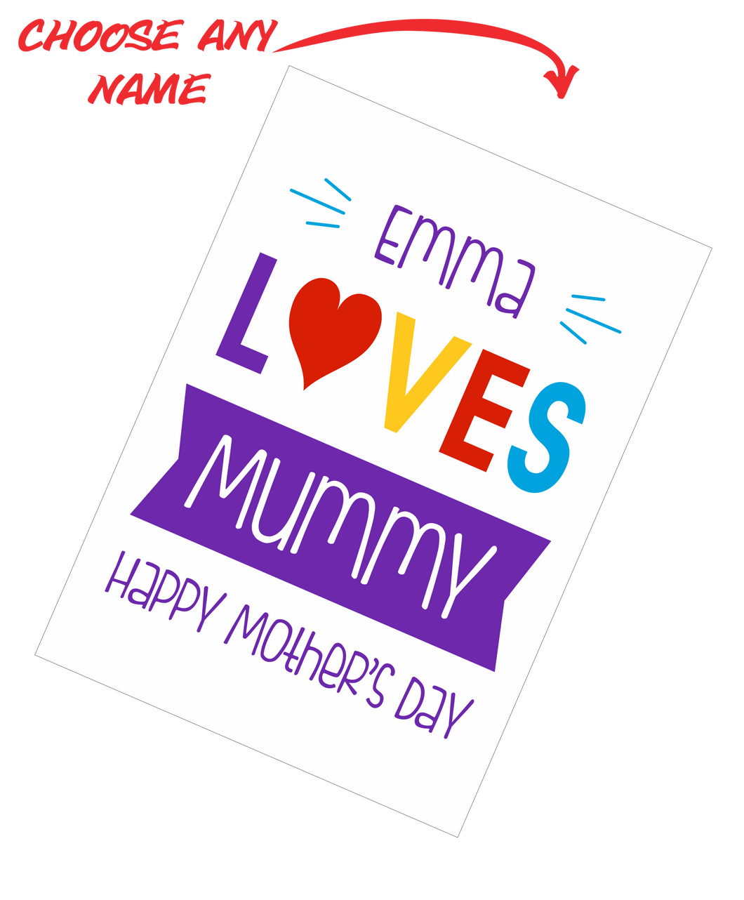 Personalised Mother's Day Teatowel - Insert Name Loves Mummy Happy Mother's Day