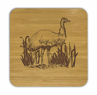 EMU Bamboo Coasters Eco Friendly Set Of 4 Drink Coasters in Box - fair-dinkum-gifts