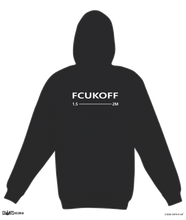 Load image into Gallery viewer, FCUKOFF 1.5 Metres Social Distancing Black Hoodie Jumper