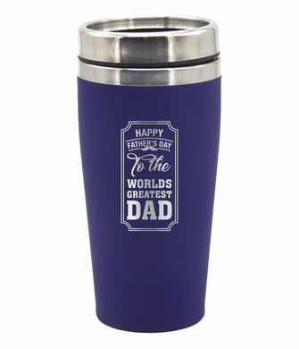 Fathers Day Travel Mug Happy Fathers Day The World's Greatest Dad Coffee Flask - fair-dinkum-gifts