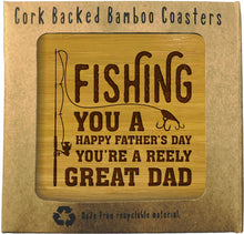 Load image into Gallery viewer, HAPPY FATHERS DAY Bamboo Coasters Set of 4 in box ECO Friendly GIFTS FOR DADS - fair-dinkum-gifts