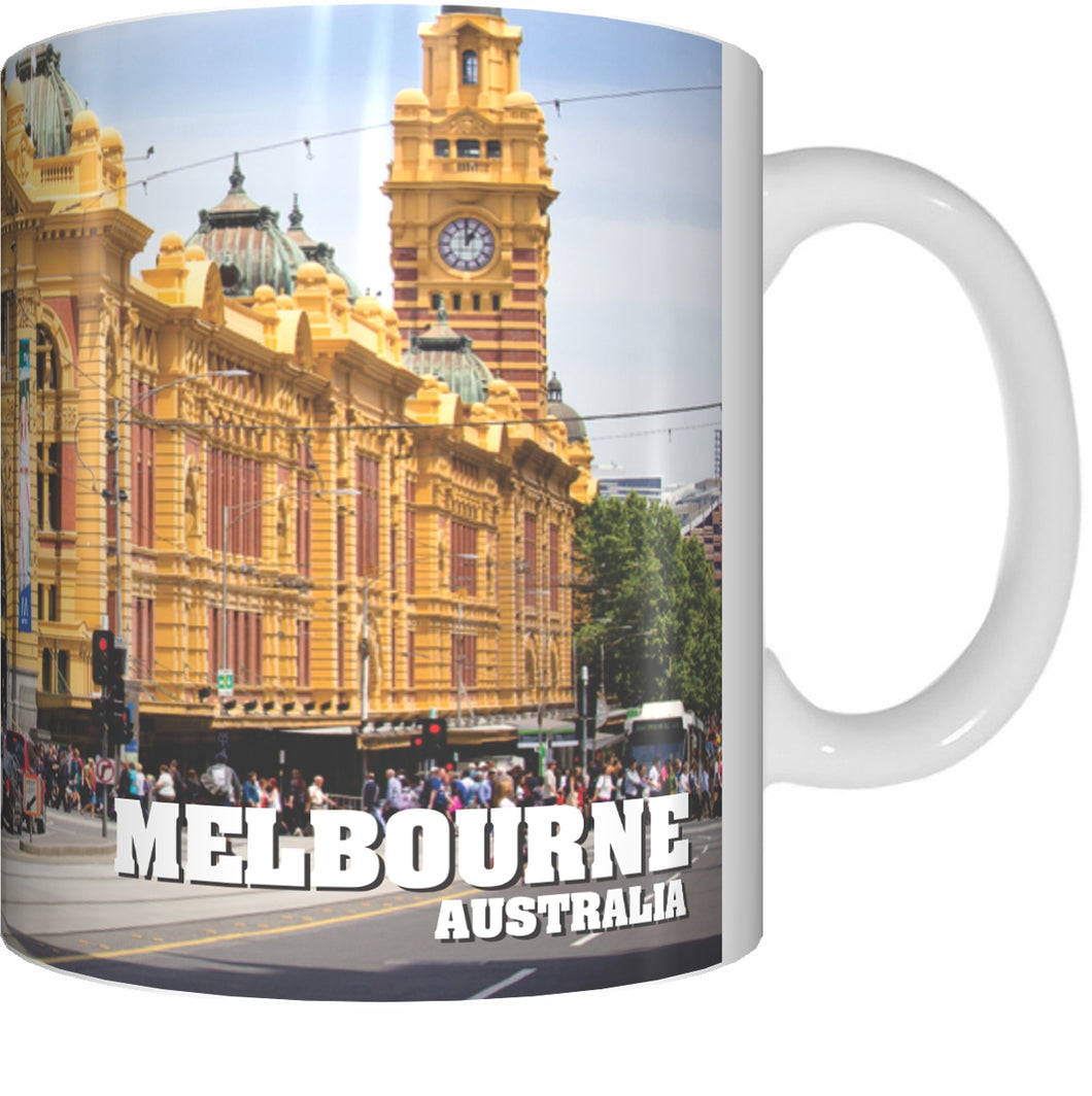FLINDERS STREET Mug Cup 300ml Gift Aussie Australia Station Trains Melbourne - fair-dinkum-gifts