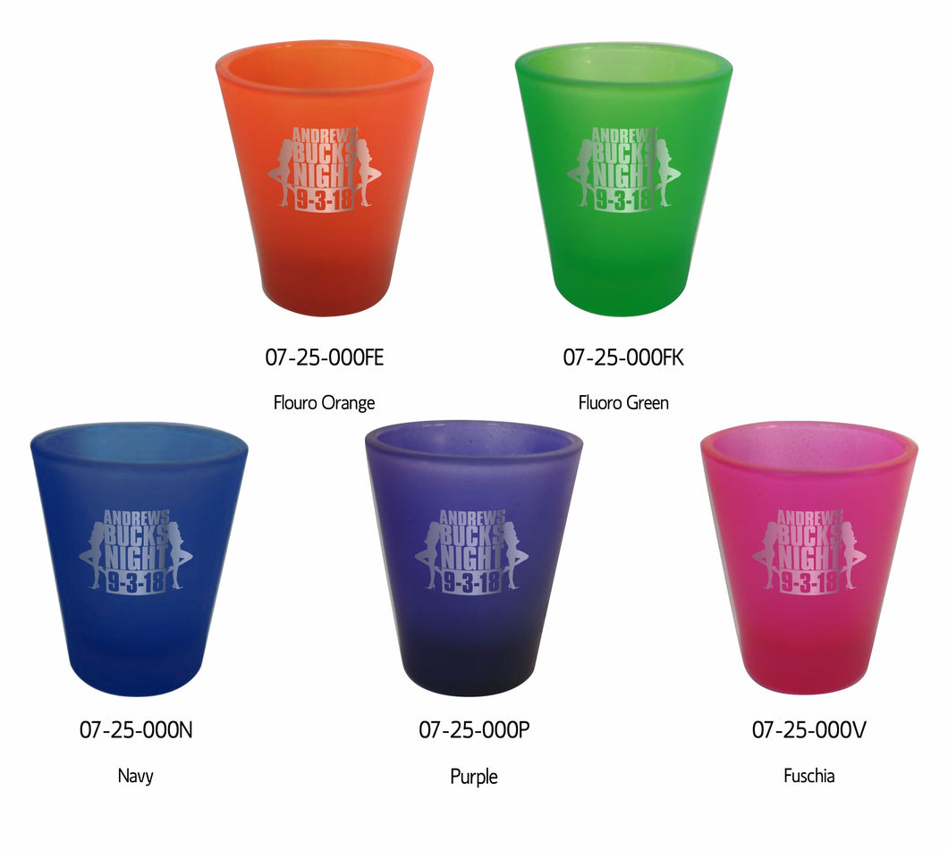 12 or 24 Customised Fluoro Shot Glasses 45ml Weddings Favours Laser Engraved Hens Bucks - fair-dinkum-gifts