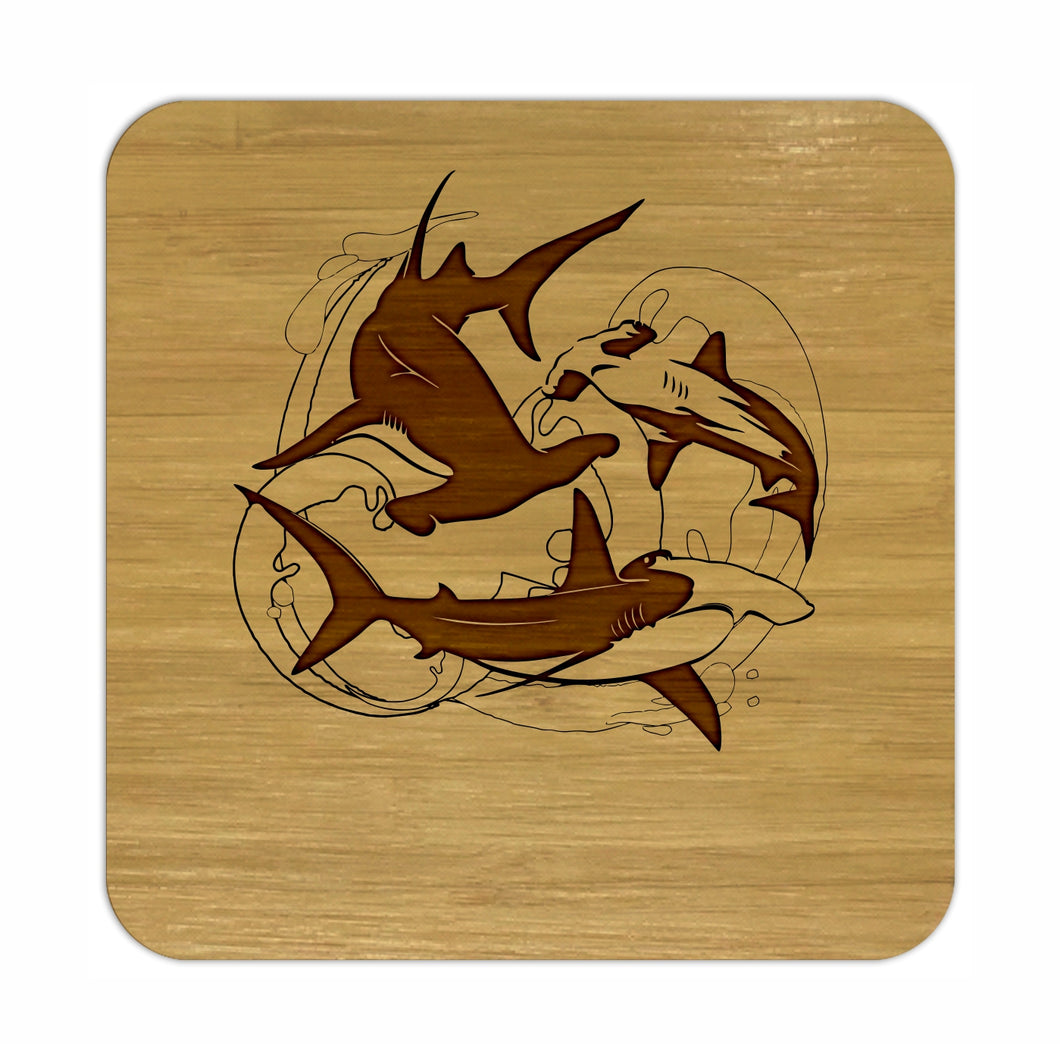 HAMMERHEAD SHARK Bamboo Coasters Eco Friendly Set Of 4 Drink Coasters in Box - fair-dinkum-gifts