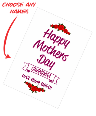 Personalised Mother's Day Teatowel - Happy Mother's Day Grandma Insert Name Roses FDG03-03-20002
