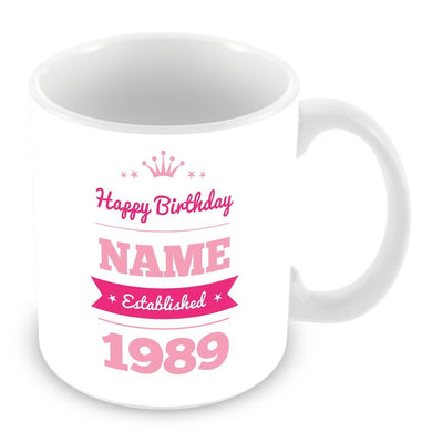 Happy Birthday Personalised Name Date Mug Customised Gift Blue Or Pink - fair-dinkum-gifts
