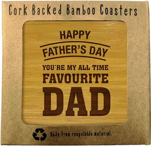 HAPPY FATHERS DAY Bamboo Coasters Set of 4 in box ECO Friendly GIFTS FOR DADS - fair-dinkum-gifts