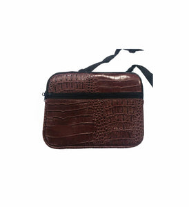 Croc Skin Ipad Sleeve Pouch with Pocket and Strap Crocodile Neoprene - Black Red Brown Green - fair-dinkum-gifts
