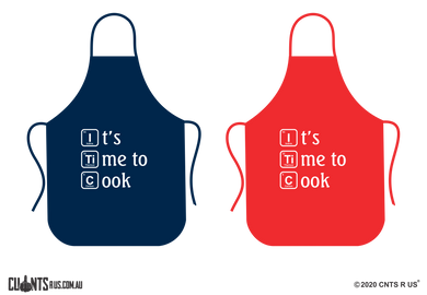 It's Time To Cook Apron - Choose From Red or Navy Blue CRU06-01-28007