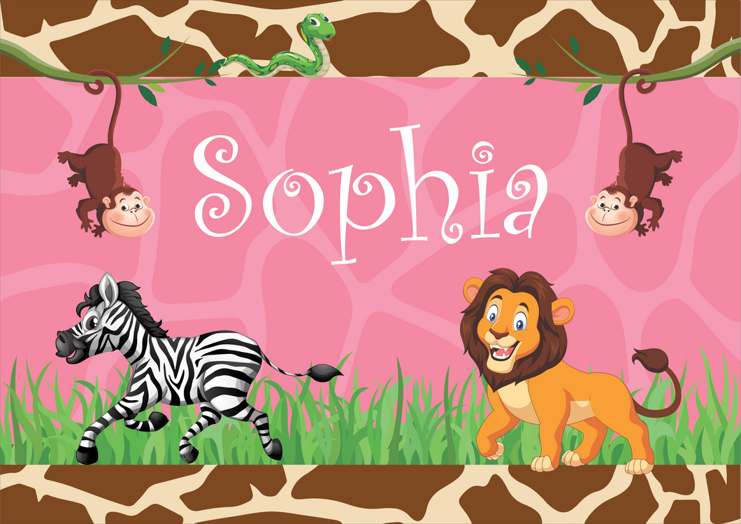 Girls Jungle Themed Personalised Placemat FDG26-22-24001