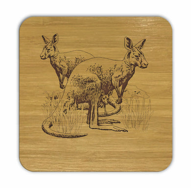 KANGAROOS Bamboo Coasters Eco Friendly Set Of 4 Drink Coasters in Box - fair-dinkum-gifts