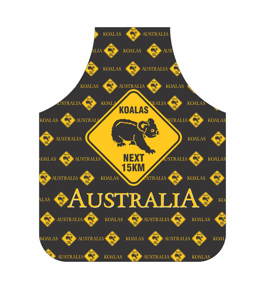 *CLEARANCE* Koala Apron Australia Black And Yellow Road Sign Design