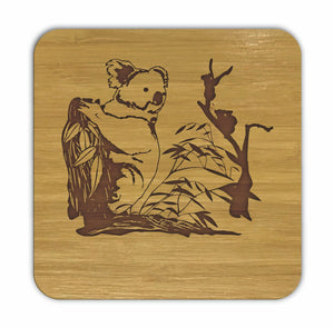 KOALA Bamboo Coasters Eco Friendly Set Of 4 Drink Coasters in Box - fair-dinkum-gifts
