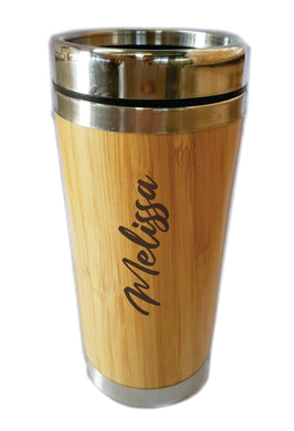 Personalised Bamboo Travel Mug Flask 450ml Gift Eco Friendly Stainless Steel Customised - fair-dinkum-gifts