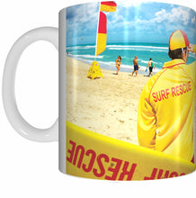 Load image into Gallery viewer, LIFESAVER AND FLAG Mug Cup 300ml Gift Aussie Australia Lifesavers Beach Surf Rescue - fair-dinkum-gifts