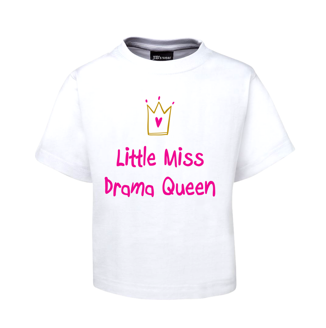 LITTLE MISS DRAMA QUEEN KIDS T-SHIRT WHITE PINK CHILDREN'S TEE FDG01-1KT-WHITE