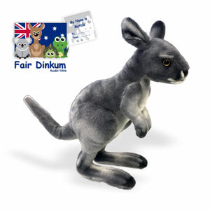 Matilda The Grey Kanga Plush Toy Australia - 32cm - fair-dinkum-gifts