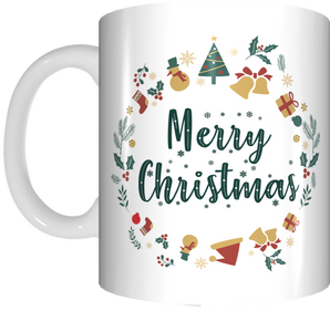 Merry Christmas Coffee Mug Gift Present Xmas Cup Green Circle Design