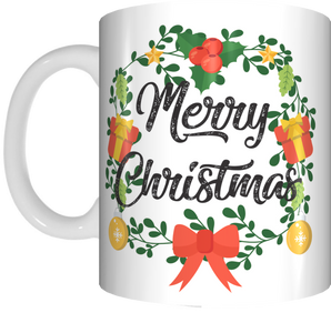 Merry Christmas Wreath Coffee Mug Gift Present Xmas Cup Bow Holly Baubles
