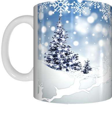 Snow Scene Merry Christmas Coffee Mug Gift Present Xmas Tree Snowflakes Cup Blue White - fair-dinkum-gifts