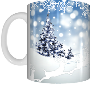 Snow Scene Merry Christmas Coffee Mug Gift Present Xmas Tree Snowflakes Cup Blue White