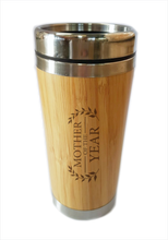 Load image into Gallery viewer, Bamboo Travel Mug Mother Of The Year Gift For Mother's Day