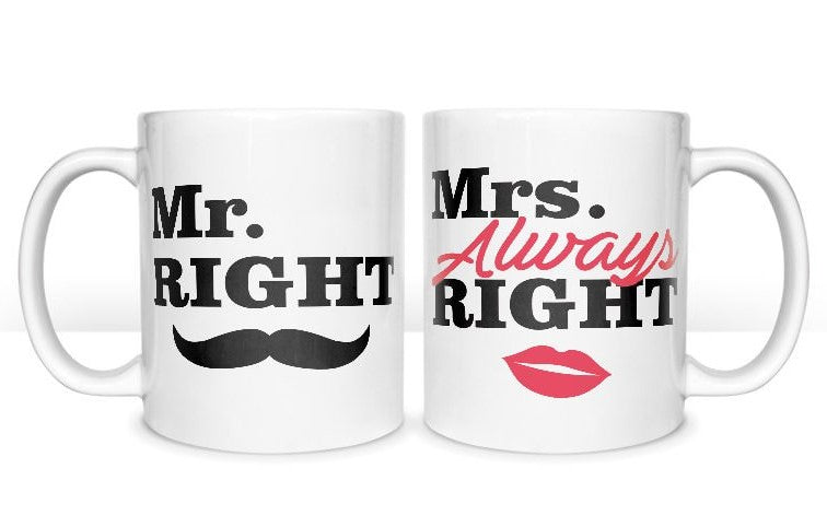 Mr Right & Mrs Right Double Set Coffee Mugs Gift Romantic Novelty Present Valentines Day Anniversary - fair-dinkum-gifts