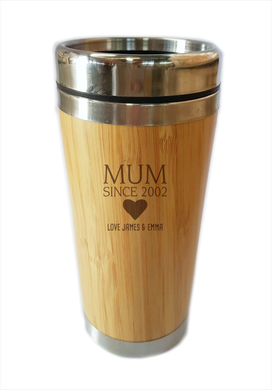 Bamboo Travel Mug Mum Since 2002 Personalised Gift For Mother's Day