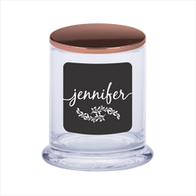 Load image into Gallery viewer, Personalised Scented Candle Gift Black Label With Laser Engraved Lid