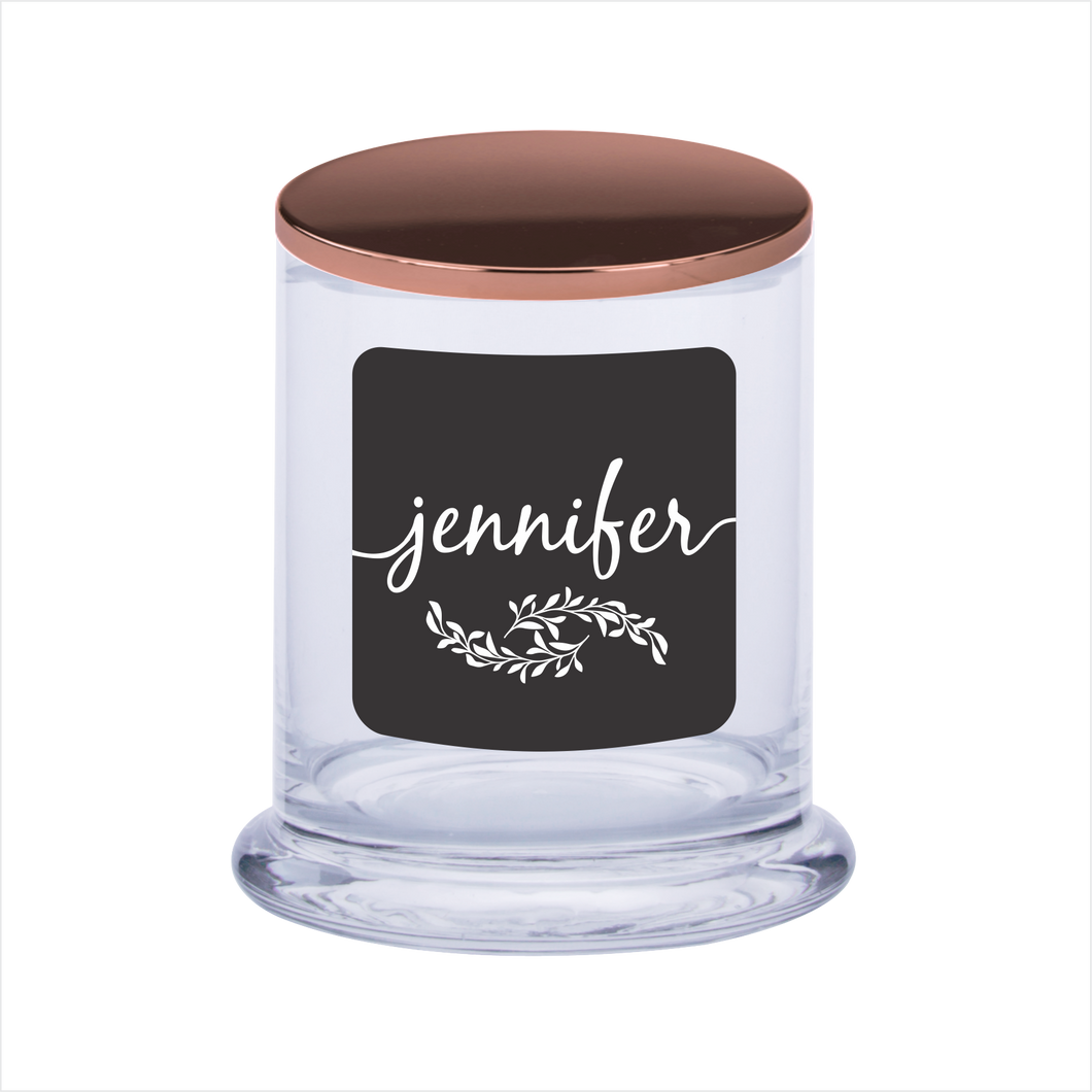 Personalised Scented Candle Gift Black Label With Laser Engraved Lid