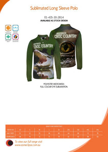 Croc Country Sublimated Polo Shirt Australia Crocodiles Aussie Great Outdoors Outback