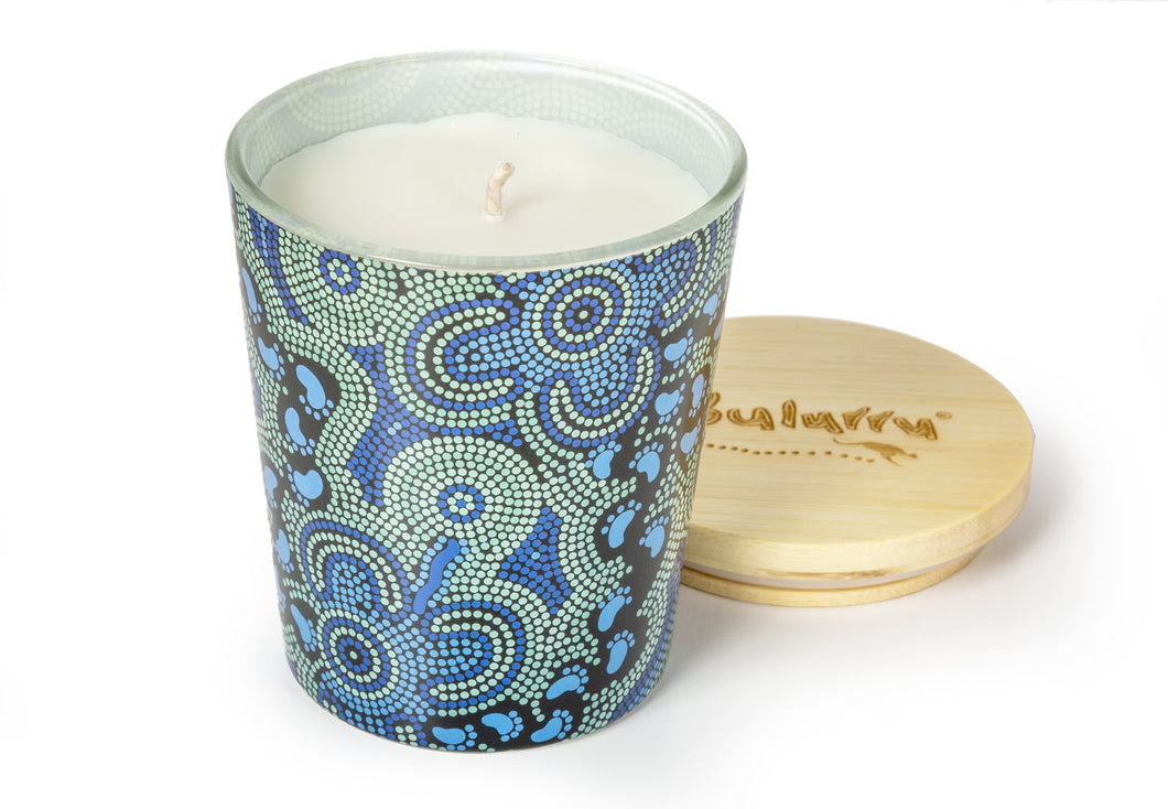 Bulurru Aboriginal Soy Candle On Walkabout Blue Lime & Coconut