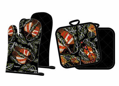 Oven Mitt and Pot Holder Set Aboriginal Art Graham Kenyon Indigenous Artist - fair-dinkum-gifts